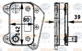Bộ trao đổi nhiệt dầu máy Mercedes Sprinter. Mã Mer: 6461880301. Mã Hella: 8MO376726-321